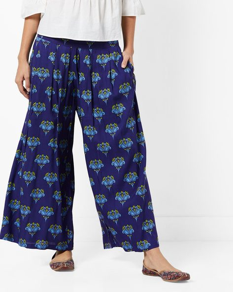 Printed Flared Pants With Pockets By UNTUNG ( Navyblue )