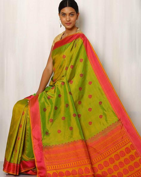 Handwoven Buti Pure Silk Resham Border Saree By Rudrakaashe-MSU ( Green )