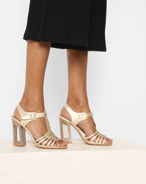 Strappy Chunky Heels With Cut-Out Detail By AJIO ( Champagne )