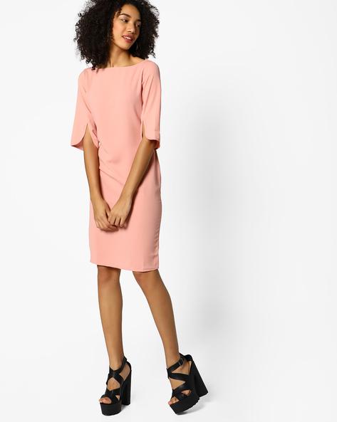 Sheath Dress With Back Slit By Femella ( Rose )