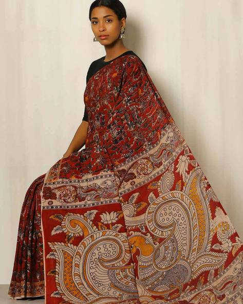 Kalamkari Print Cotton Saree By Indie Picks ( Maroon ) - 460038370001