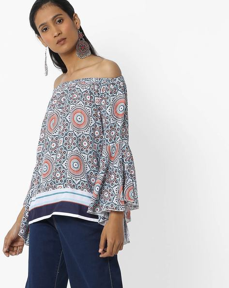 Printed Off-Shoulder Top With Bell Sleeves By FIG ( Ltblue )