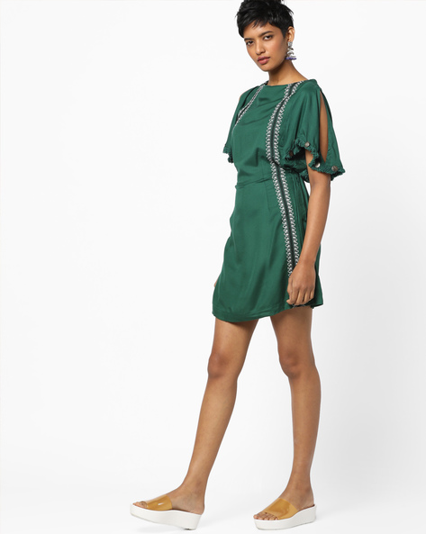 Cold-Shoulder Playsuit With Frayed Hems By AJIO ( Green )