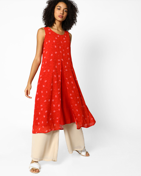 Floral Print Double-Layered Tunic By PE IW Fusion ( Red )