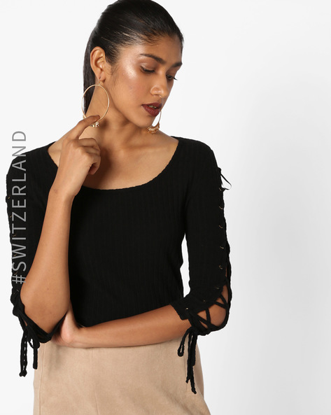 Ribbed Sweater With Cut-Out Sleeves By TALLY WEiJL ( Black )