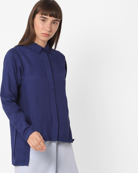 High-Low Shirt With Spread Collar By FIG ( Navy )