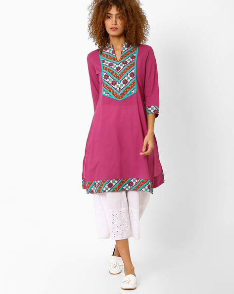 Straight Kurta With Mandarin Collar By AJIO ( Mauve )