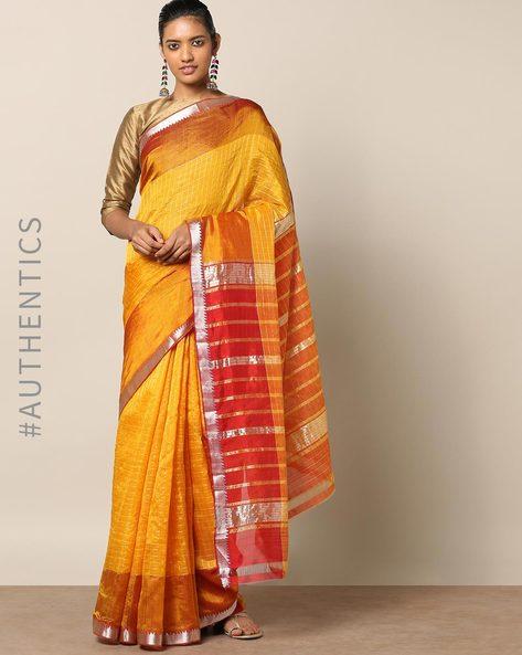 Handloom Mangalagiri Checked Cotton Silk Saree By Indie Picks ( Lightbrown )