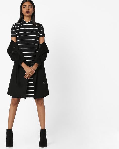 Striped Bodycon Dress With High-Neck By AJIO ( Black )