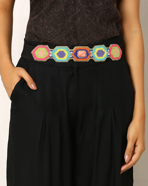 Beaded Embellished Belt By Indie Picks ( Multi )