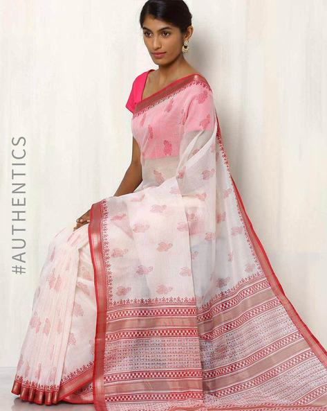 Hand Block Print Maheshwari Saree By Indie Picks ( White ) - 460017081001