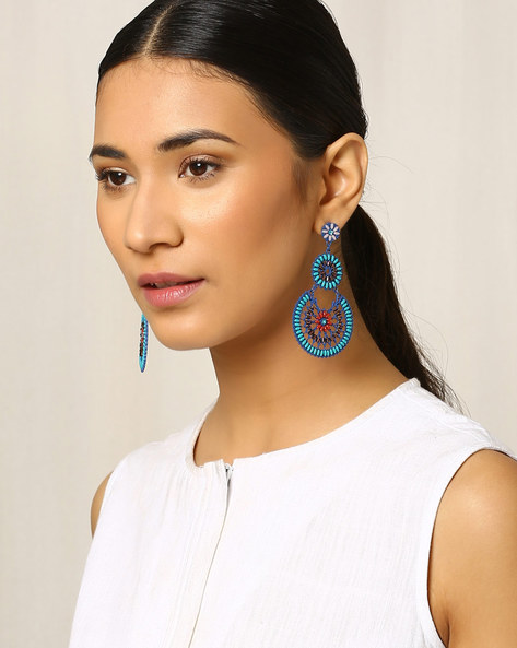 Metal Drop-Earrings With Beads By Indie Picks ( Blue )