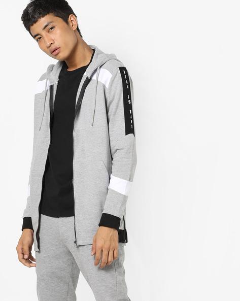 Hooded Sweatshirt With Typographic Back By ADAMO LONDON ( Greymelange )