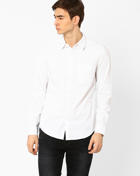 Slim Fit Shirt With Curved Hem By Blue Saint ( White )