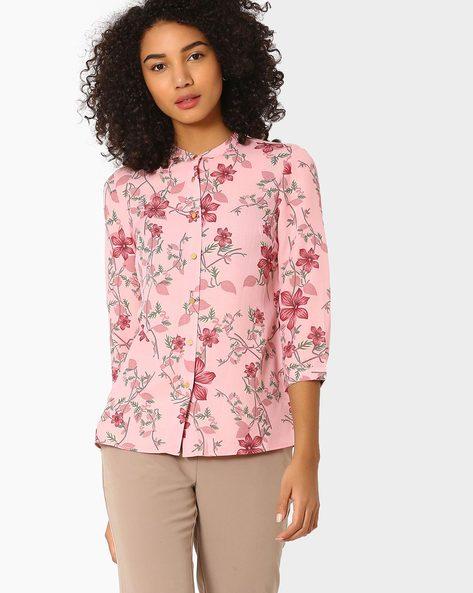 Floral Print Top By AJIO ( Pink )