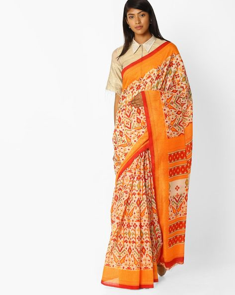 Printed Saree With Contrast Border By Pihu ( Orange )