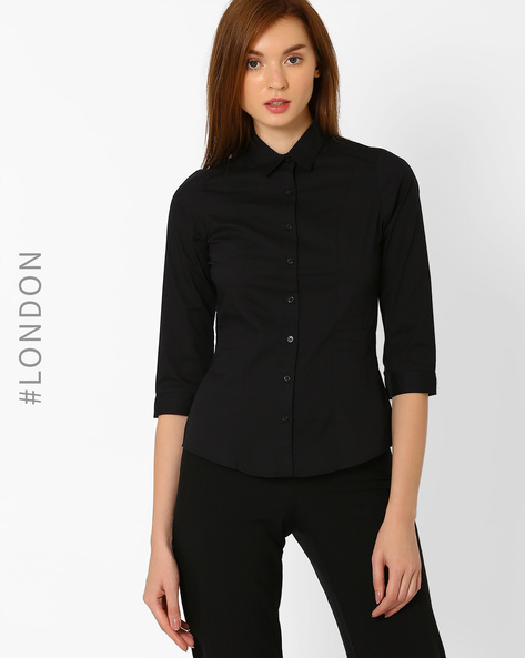 Slim Fit Classic Shirt By Marks & Spencer ( Black )