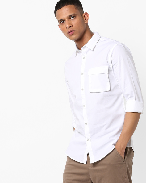 Slim Fit Shirt With Flap Pocket By AJIO ( White )
