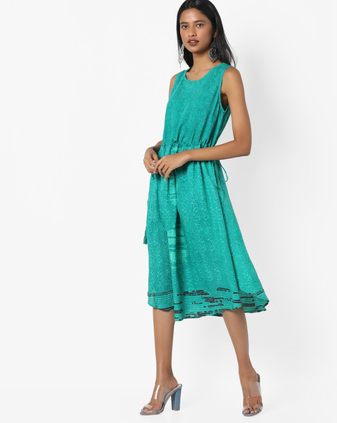 Sleeveless Dress With Tassel Tie-Ups By Project Eve IW Fusion ( Green )
