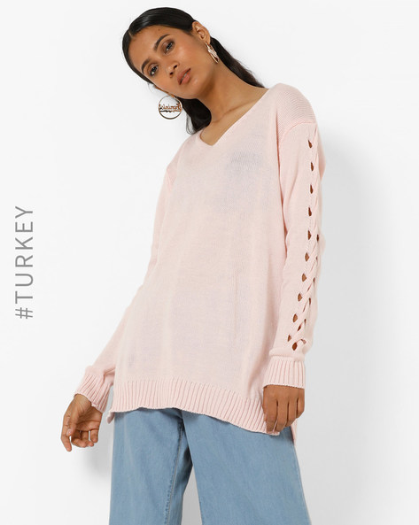 Knitted Top With Cut-Outs By TRENDYOL ( Pink )