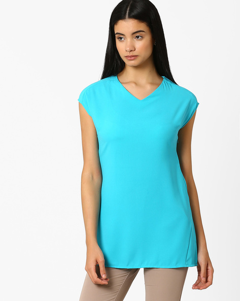 Tunic Top With Cap Sleeves By AJIO ( Aqua )