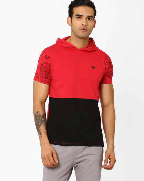 Colourblock T-shirt With Hood By Garcon ( Red )