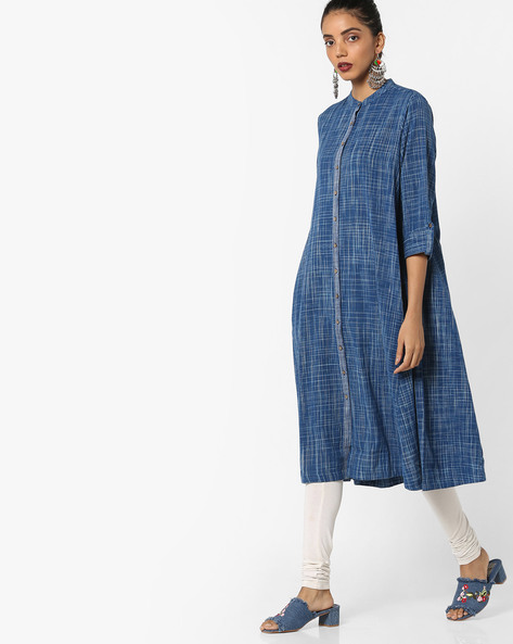 Buttoned Kurta With Patterned Weave By Project Eve IW Casual ( Indigo )