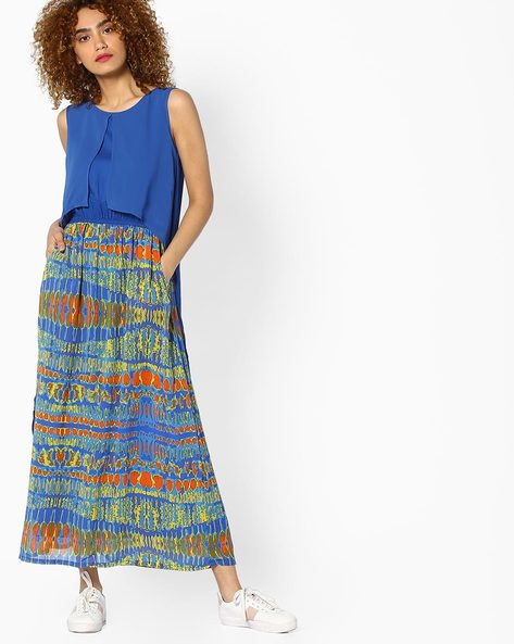 Printed Maxi Dress With Overlay By Global Desi ( Printed )