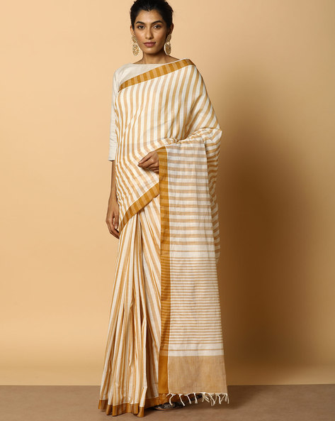 Kanchi Cotton Striped Saree With Woven Border By Indie Picks ( Brown )