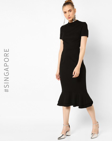 Sheath Dress With Ruffled Hemline By MDS ( Black )