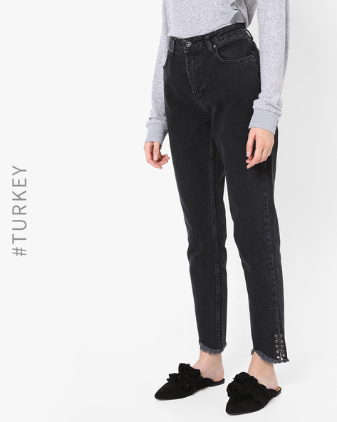 Lightly Washed Jeans With Lace-Up Fastening By TRENDYOL ( Black )