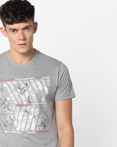 Graphic Print T-shirt By AJIO ( Metallic )