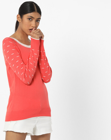 Flat Knit Top With Raglan Sleeves By FIG ( Coral )