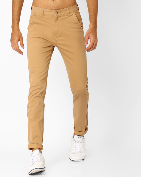 Slim Fit Flat-Front Trousers By Nature Casuals ( Khaki )