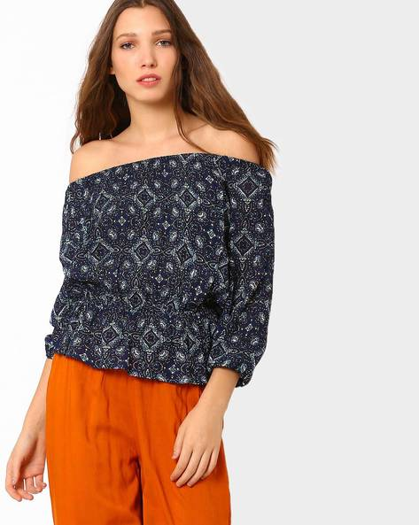 Printed Off-Shoulder Top By AJIO ( Blue )