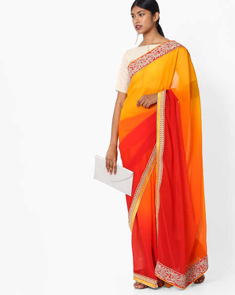 Ombre-Dyed Saree With Embroidered Border By Pihu ( Red )