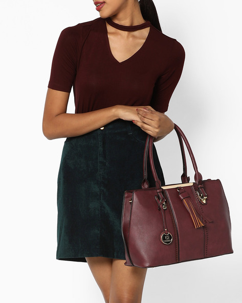 Shoulder Bag With Tassels By FUR JADEN ( Wine )