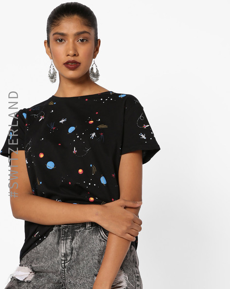 All-Over Print Crew-Neck T-shirt By TALLY WEiJL ( Black )