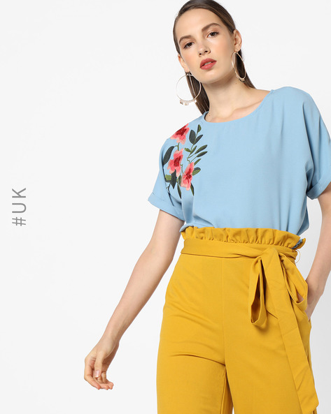 Asymmetric Hem Top With Floral Embroidery By OEUVRE ( Blue )