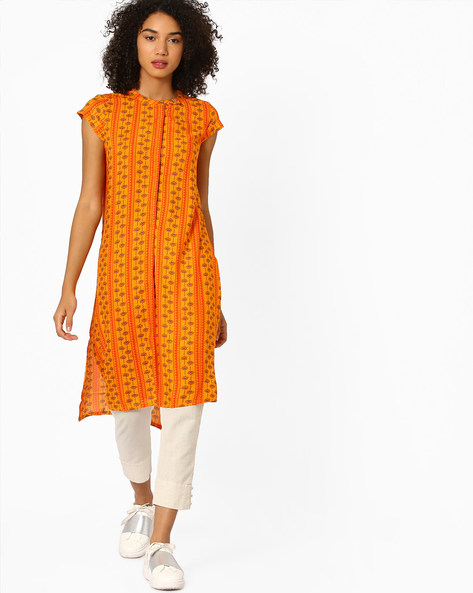 Printed High-Low Kurta By Global Desi ( Orange )