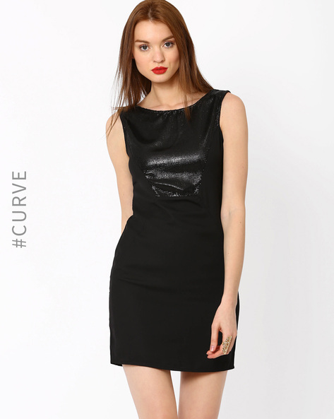 Sleeveless Sequin Dress By AJIO ( Black )