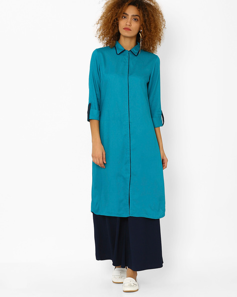 Pathani Kurta With Spread Collar By AJIO ( Teal )