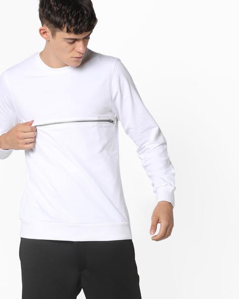 Crew-Neck Sweatshirt With Mesh Panel By Garcon ( White )