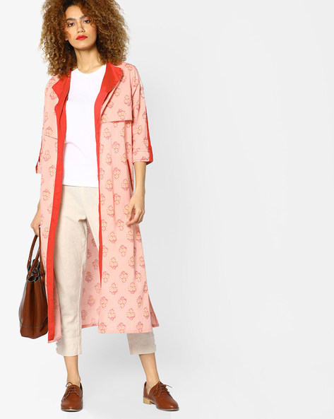 Open-Front Printed Jacket By AJIO ( Pink )