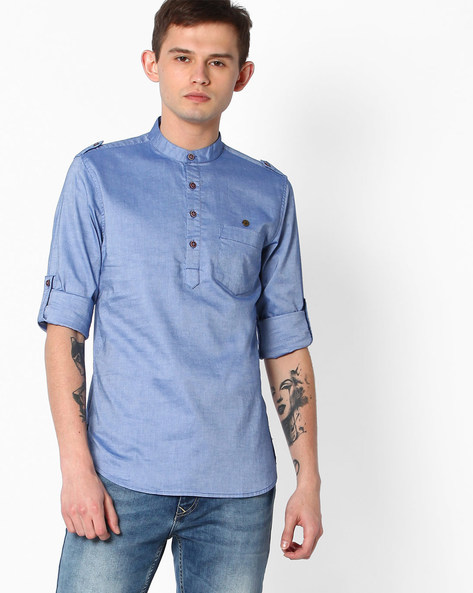 Slim Fit Cotton Shirt By The Indian Garage Co ( Blue )