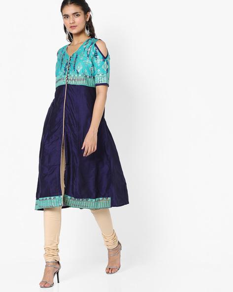 Printed Cold-Shoulder Kurta By Rangmanch By Pantaloons ( Blue )