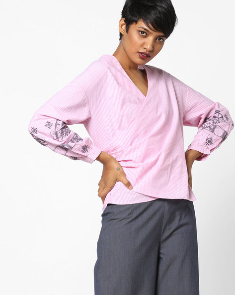 Striped Wrap Top With Embroidery By AJIO ( Pink )