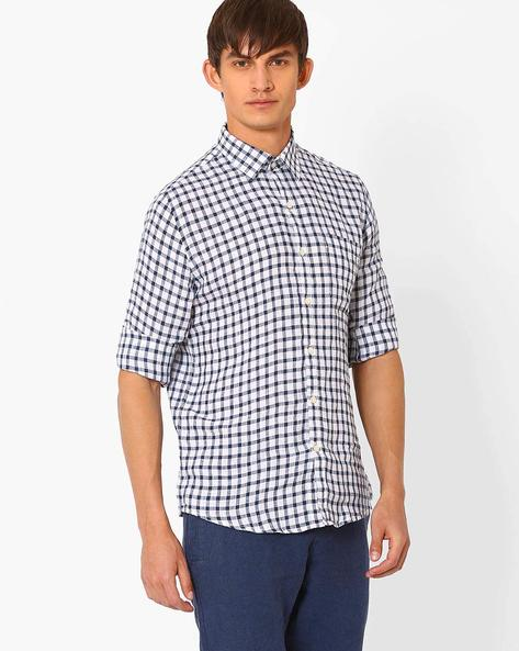 Checked Linen Shirt With Patch Pocket By NETWORK ( Navy )