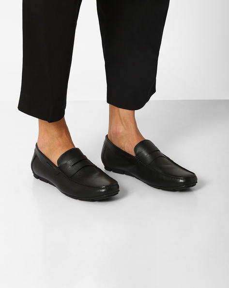 Leather Penny Loafers By Hats Off Accessories ( Black )