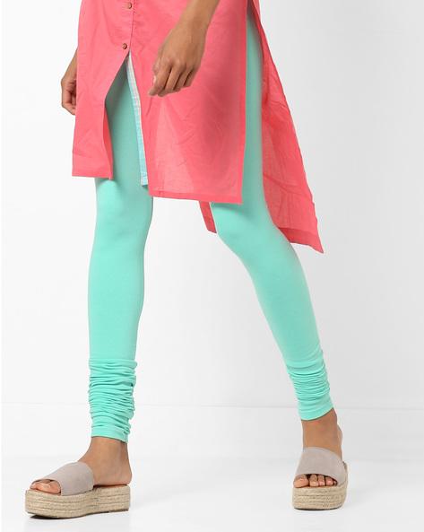 High-Rise Knitted Churidar Leggings By AJIO ( Teal )